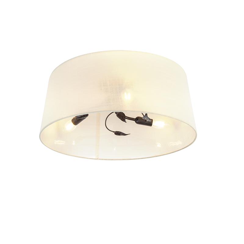 Art deco ronde plafondlamp roestkleurig met creme kap 3-lichts – Soprano | QAZQA | 8718881080883