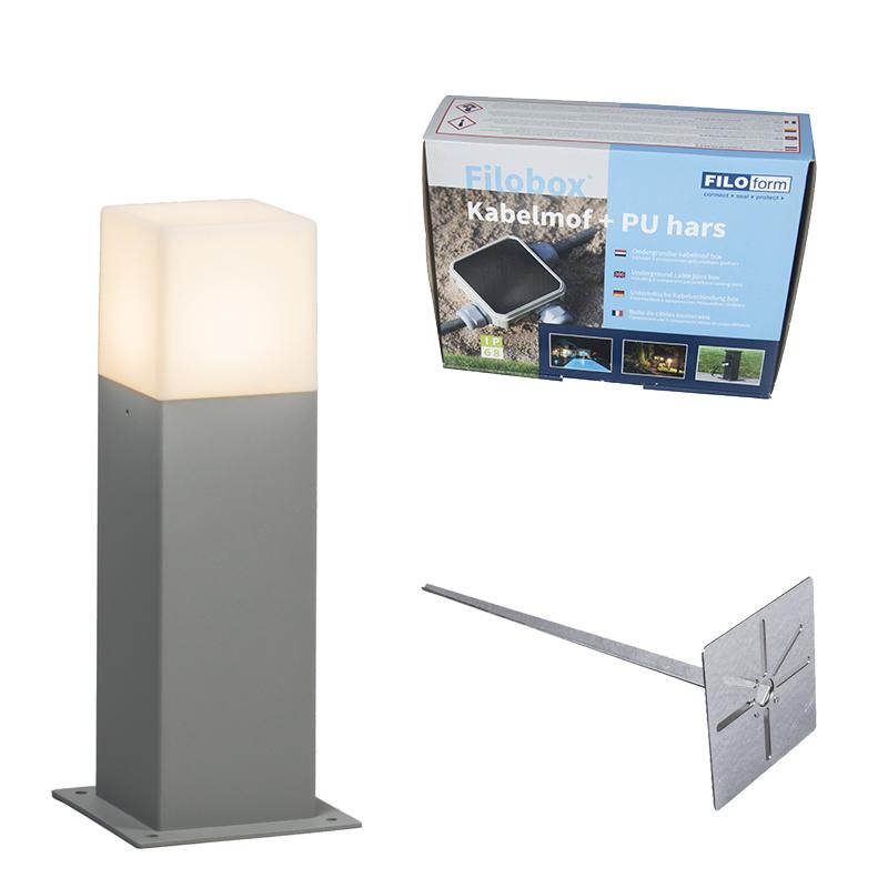 Buitenlamp Denmark P30 grijs met grondpin en kabelmof | QAZQA | 8718881076152