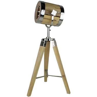 HSM Collection tafellamp – naturel/chroom – 32x32x65 cm | 8719244412648
