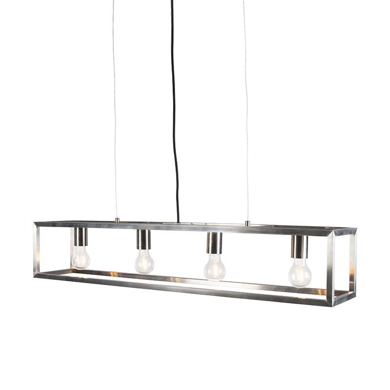 Hanglamp Cage 4 staal   QAZQA   8718881051623