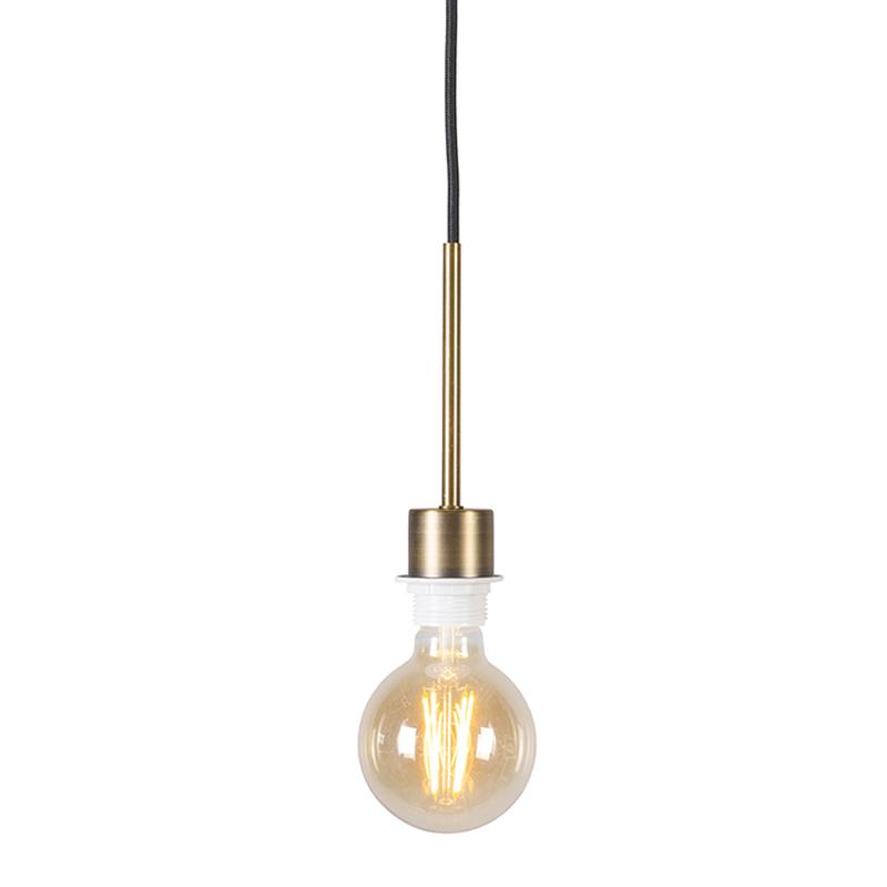 Hanglamp Combi 1 brons met zwarte kabel   QAZQA   8718881043734