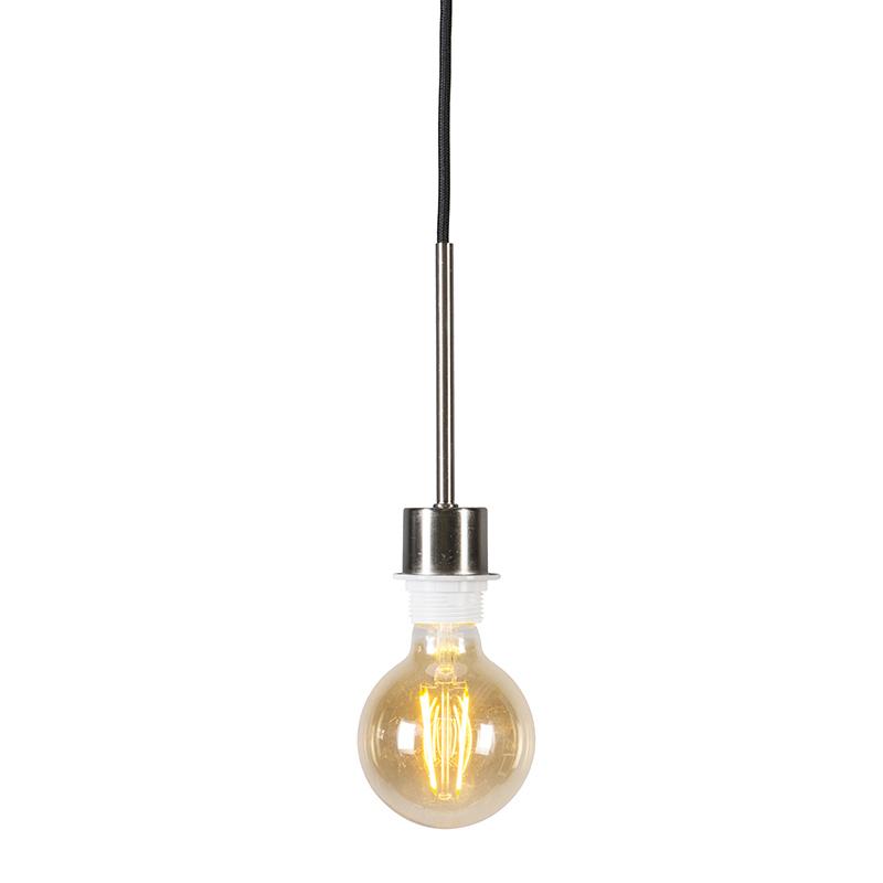 Hanglamp Combi 1 staal met zwarte kabel | QAZQA | 8718881043727