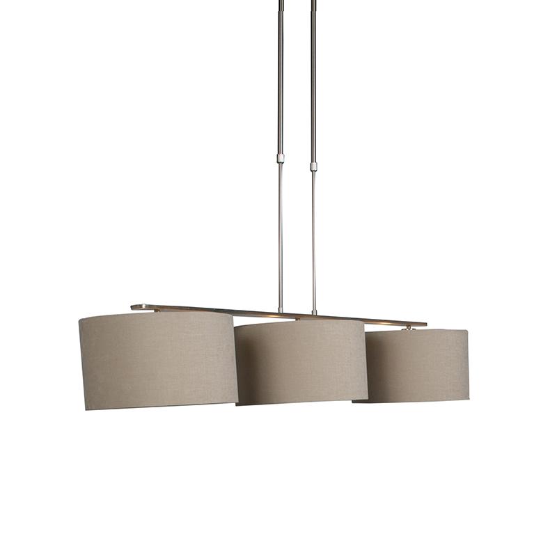 Hanglamp Combi 3 Deluxe staal met kap 35cm koffie   QAZQA   8718881069611