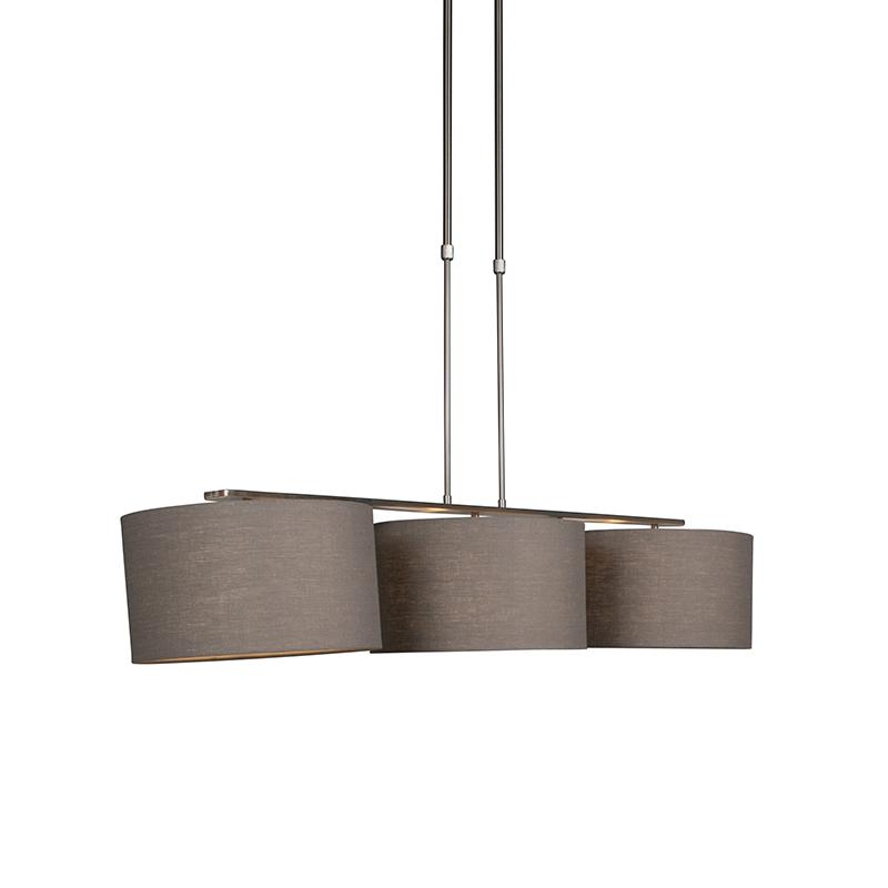 Hanglamp Combi 3 Deluxe staal met kap 35cm oud grijs | QAZQA | 8718881069581