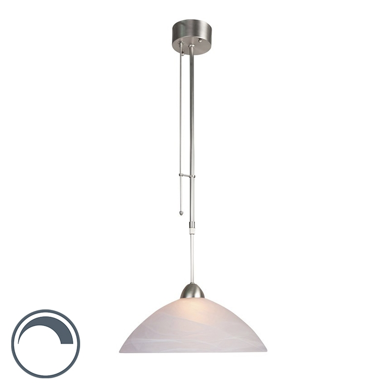 Hanglamp Floris 1 staal met wit | Steinhauer | 8712746086812