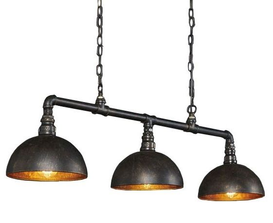 Hanglamp Industrial Tube 3 Lichts Zwart Bruin |  | 8713244071942