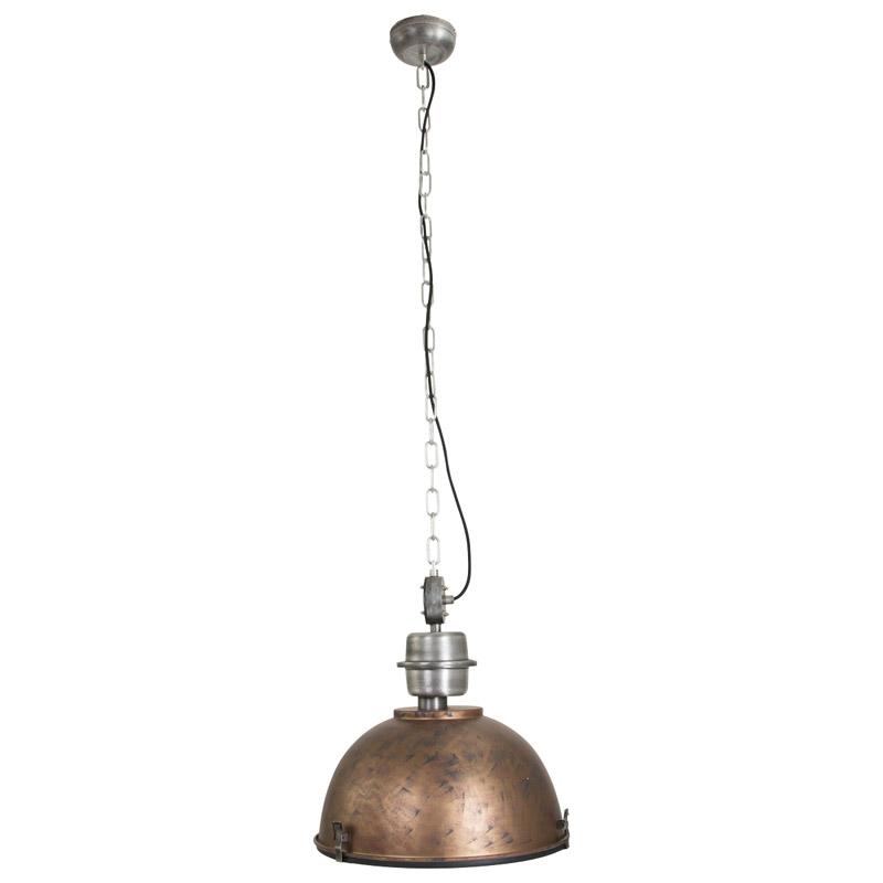 Industriële hanglamp antiek goud met blank staal – Gospodin | Steinhauer | 8712746100259