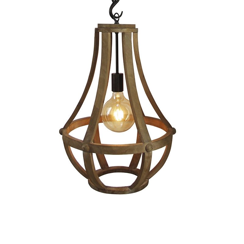 Industriele ronde hanglamp houtkleur 43cm – Morgana   Prisma Leuchten   8718881078453