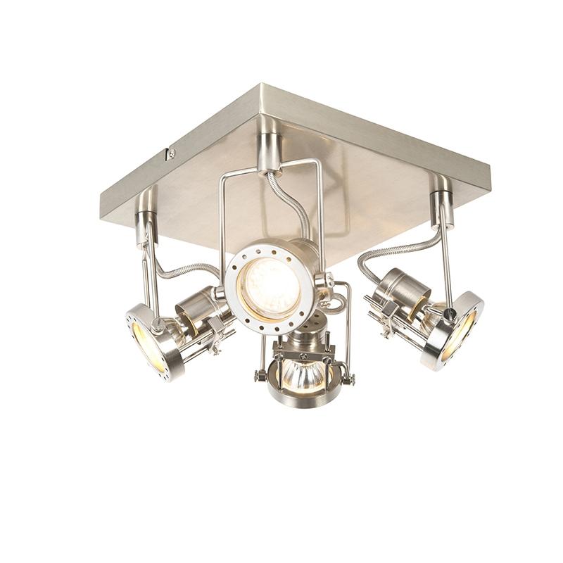 Industriele spot staal 4-lichts op vierkante plafondplaat – Suplux | QAZQA | 8718881066276