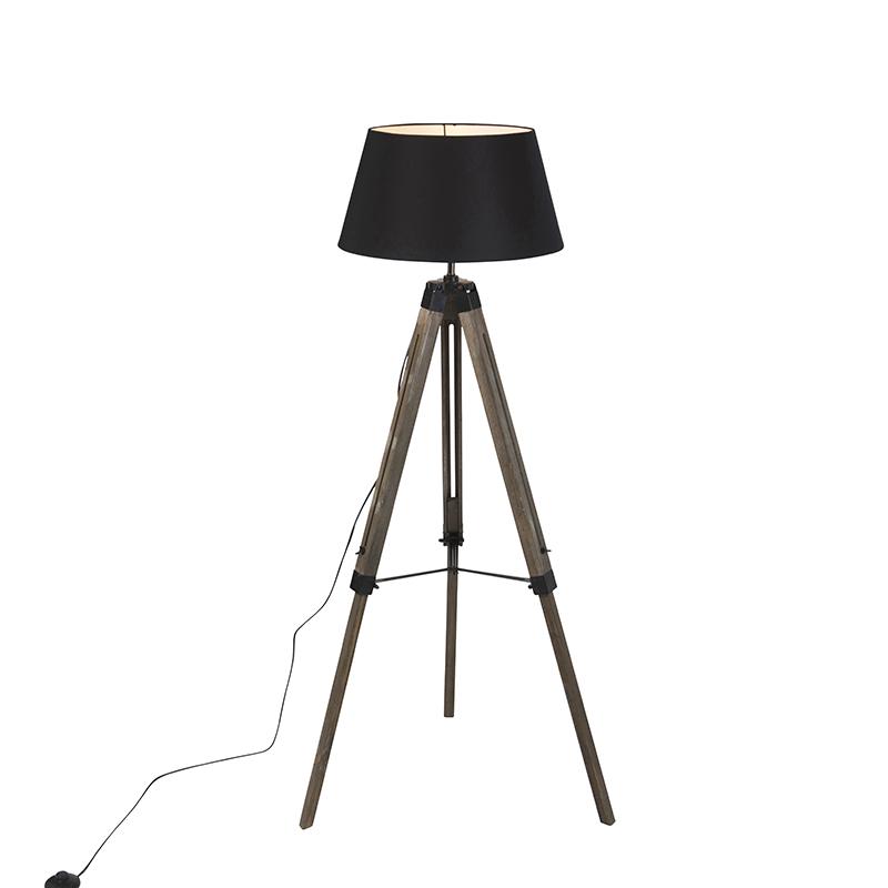 Industriele vloerlamp op houten driepoot met zwarte kap – Rio | QAZQA | 8718881081385