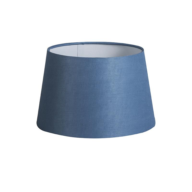 Kap 25cm rond DS E27 linnen blauw | QAZQA | 8718881041297