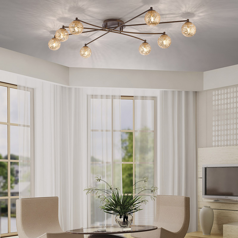Landelijke plafondlamp 8-lichts in roestbruin – Kreta | Paul Neuhaus | 4012248291337