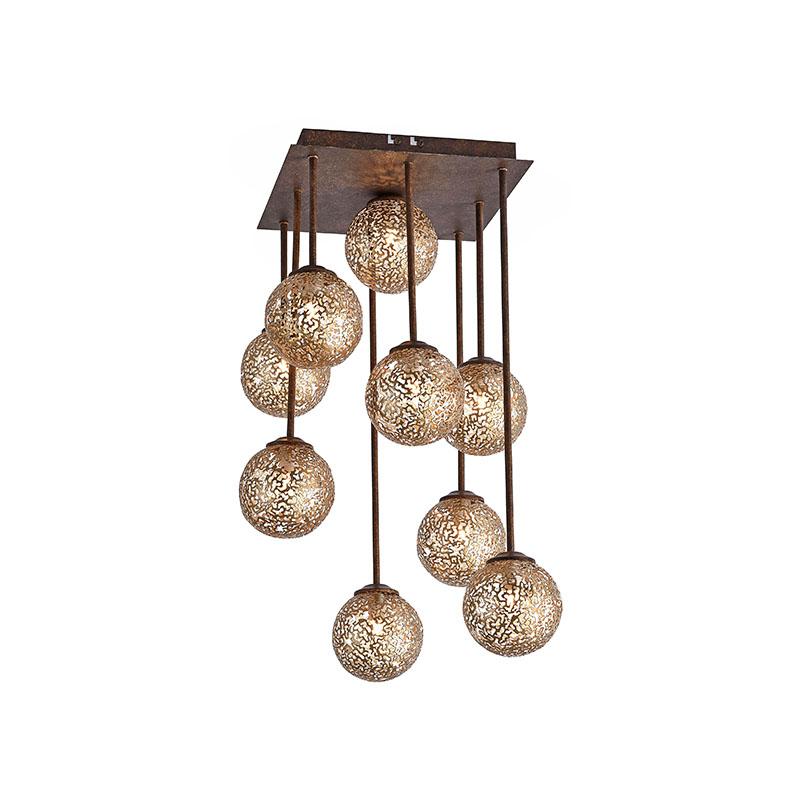 Landelijke plafonlamp 9-lichts vierkant in roestbruin – Kreta   Paul Neuhaus   4012248291252