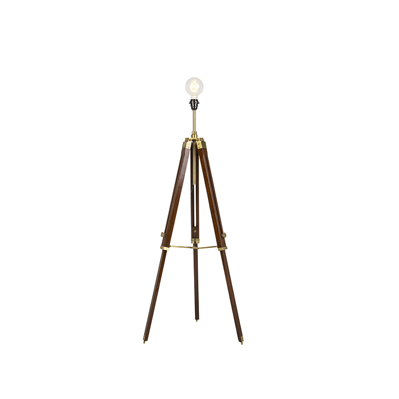 Landelijke vloerlamp driepoot teak met antiek messing – Cortin   QAZQA   8718881080647