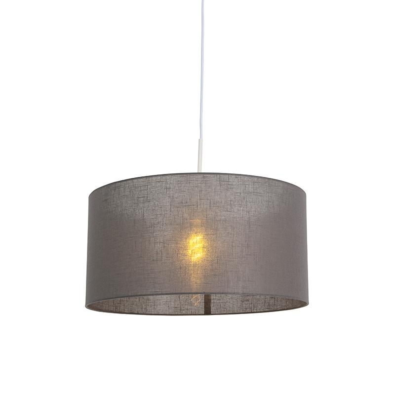 Moderne hanglamp wit met donker grijze kap 50cm – Combi 1   QAZQA   8718881085130