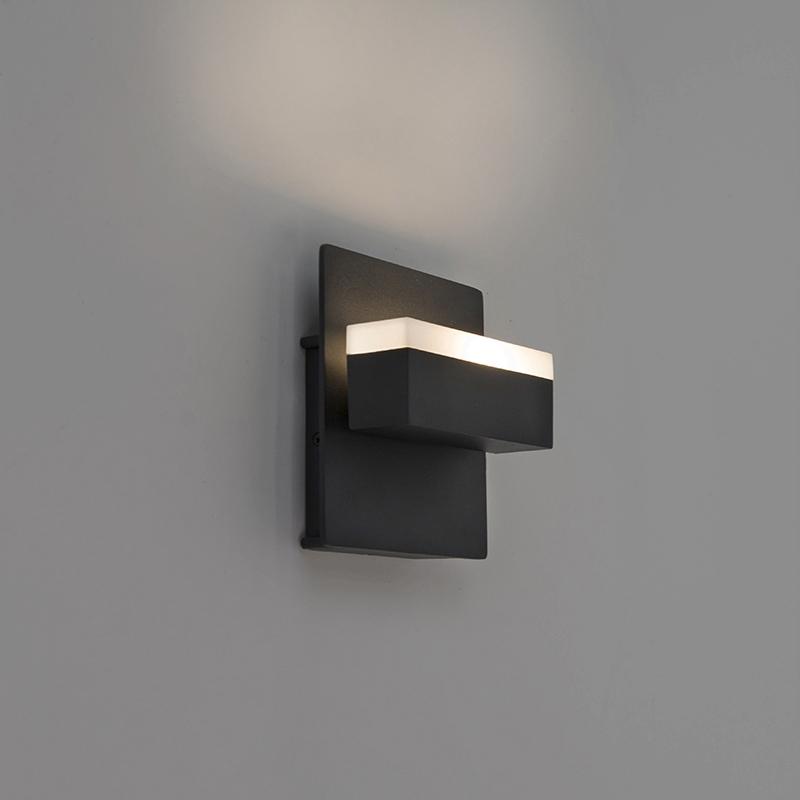 Moderne rechthoekige buitenwandlamp zwart incl. LED – Prim | Briloner | 4002707305149