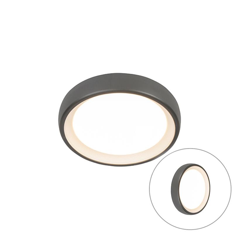 Moderne ronde buitenplafondlamp donkergrijs incl. LED – Ginny | QAZQA | 8718881082849