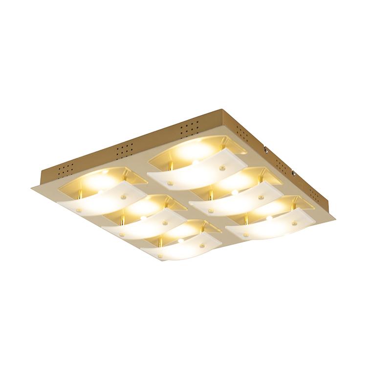 Moderne vierkante plafondlamp goud incl. LED – Grant | Honsel | 4001133213462