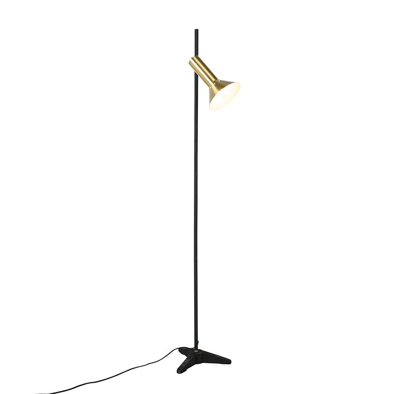 Moderne vloerlamp messing 1-lichts – Speaker | QAZQA | 8718881081422