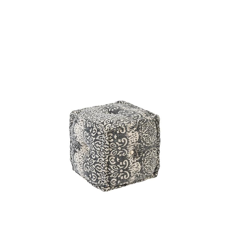 Oosterse vierkante poef 40×40 grijs – Mumbai   QAZQA   8718881066115