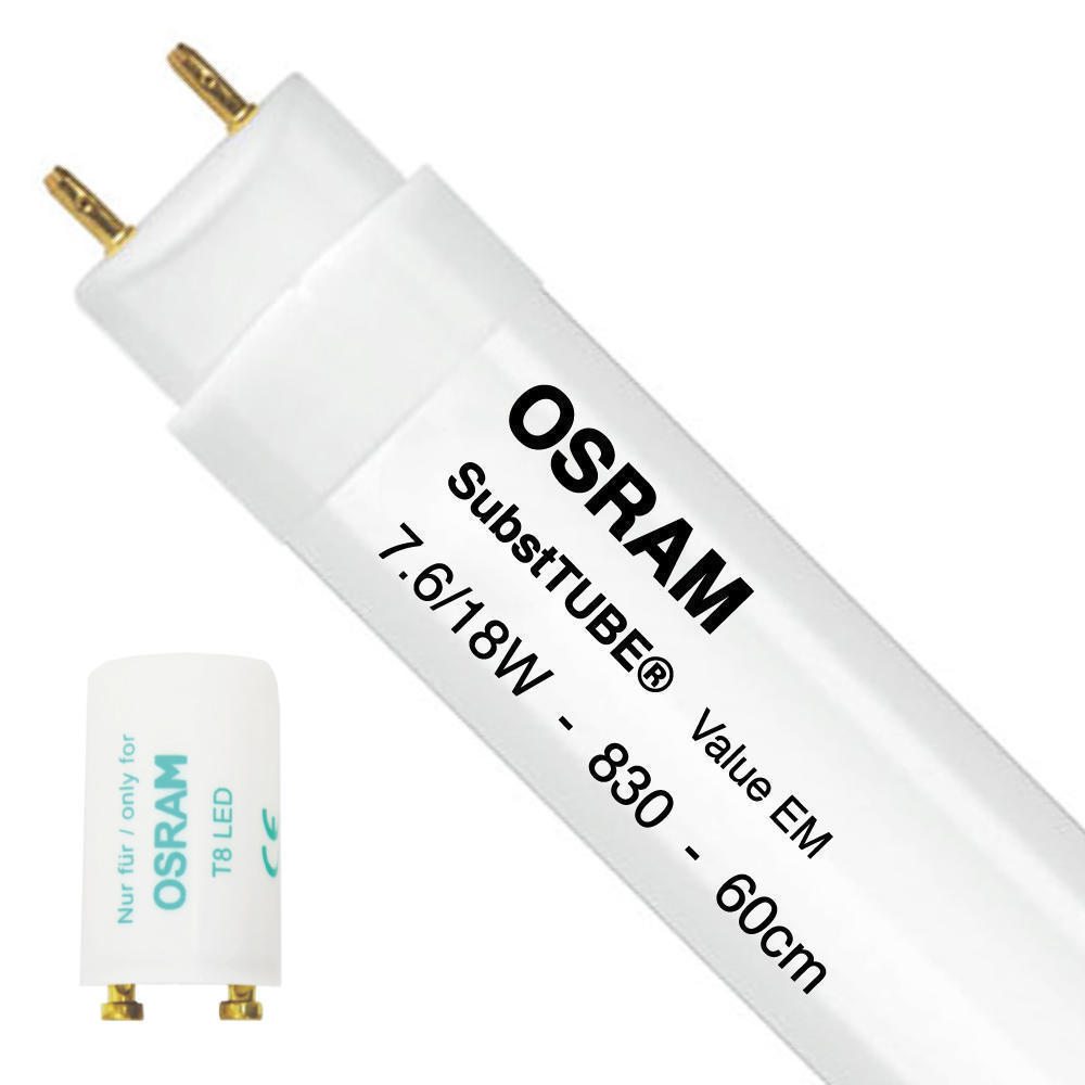 Osram SubstiTUBE Value EM 7.6W 830 60cm | Warm Wit – incl. LED Starter – Vervangt 18W | Osram | 4058075024618