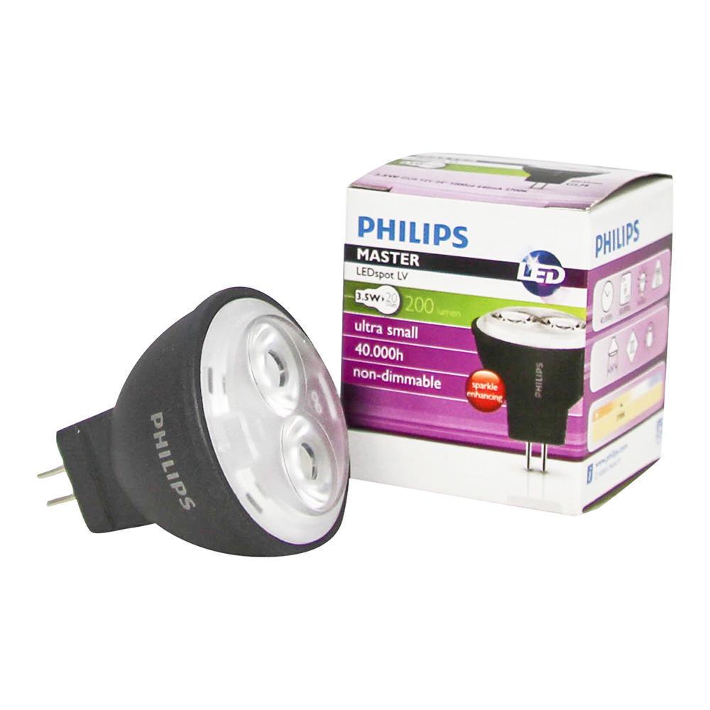 Philips LEDspot LV GU4 MR11 3.5W 827 24D (MASTER)   Zeer Warm Wit – Vervangt 20W   Philips   8718696410196