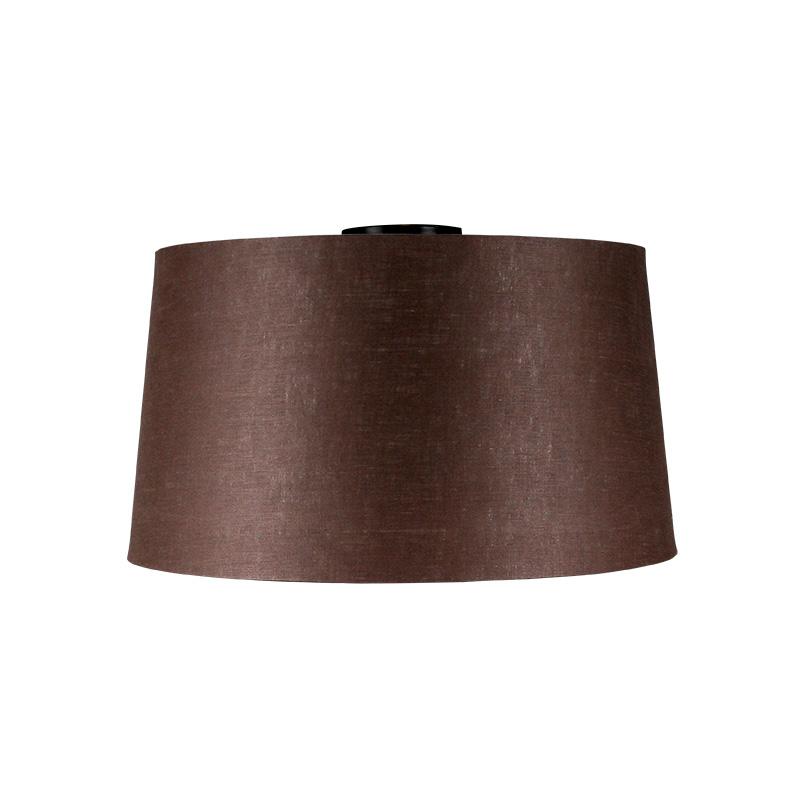 Plafondlamp Combi mat zwart met kap 45cm bruingrijs   QAZQA   8718881059018