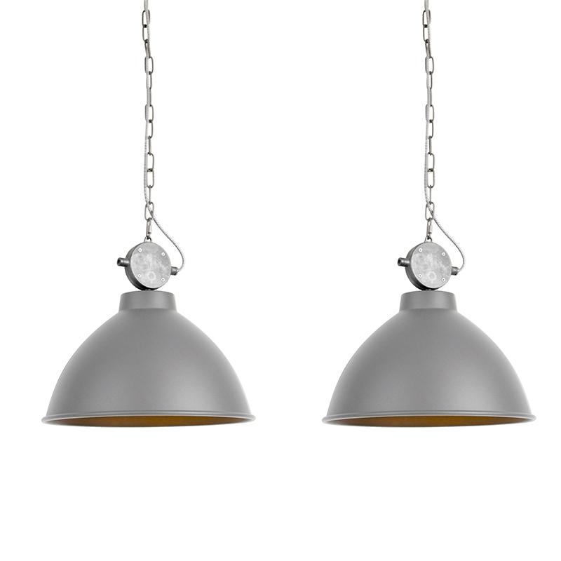Set van 2 hanglampen Anterio 38 grijs | QAZQA | 8718881077791