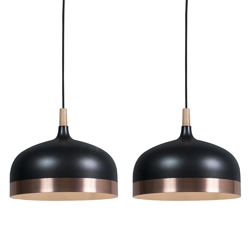 Set van 2 hanglampen Emperor zwart met koper | QAZQA | 8718881079054