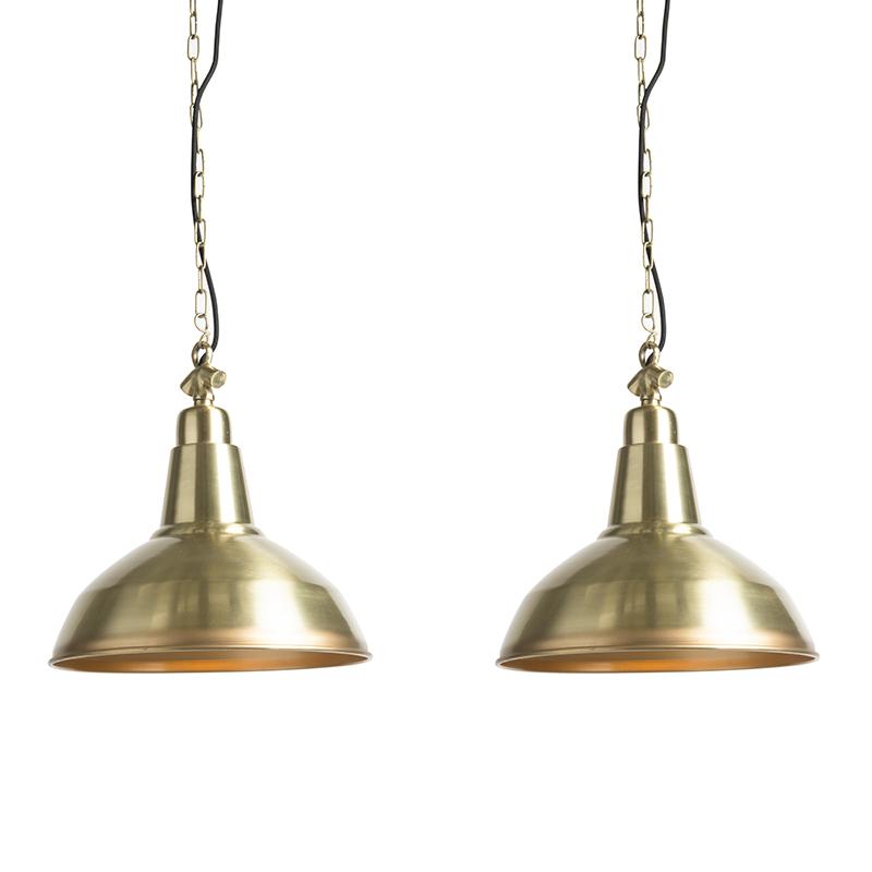 Set van 2 hanglampen Goliath large messing   QAZQA   8718881075117