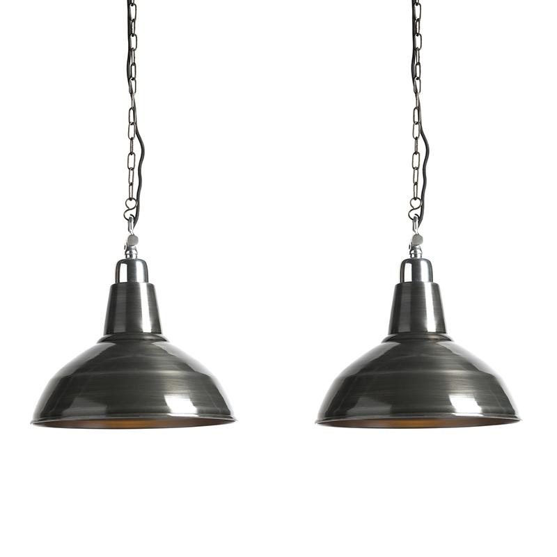 Set van 2 hanglampen Goliath large zink | QAZQA | 8718881075124