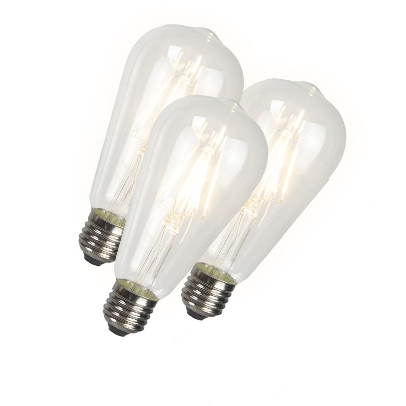 Set van 3 LED filament lang rustieklamp ST64 E27 240V 4W 350LM 2300K   Calex   8718881073557