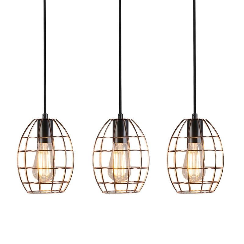 Set van 3 hanglampen Licor Luxe 4 koper | QAZQA | 8718881078651