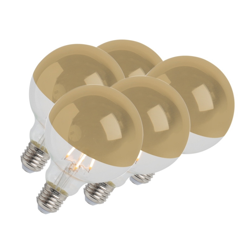 Set van 5 LED filamentlamp kopspiegel goud E27 240V 4W 280lm 2300K G95 dimbaar | Calex | 8718881078323