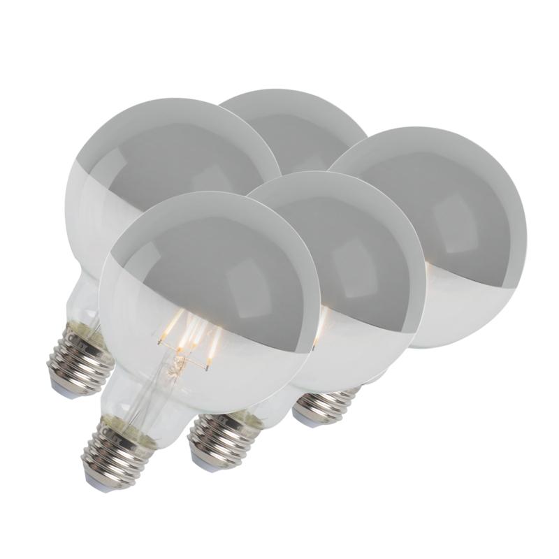 Set van 5 LED filamentlamp kopspiegel zilver E27 240V 4W 280lm 2300K G95 dimbaar | Calex | 8718881078309
