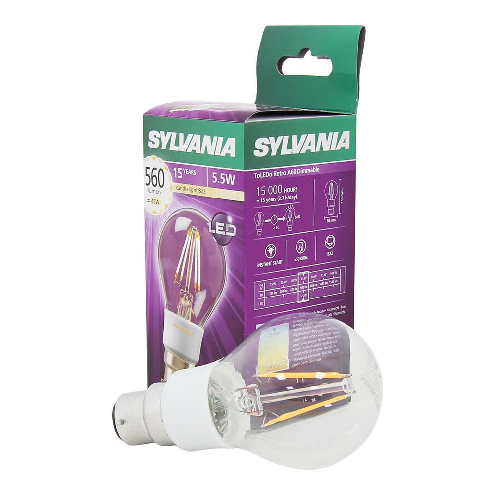 Sylvania ToLEDo Retro B22 A60 5.5W 2200K | Dimbaar – Vervangt 50W | Sylvania | 5410288271095