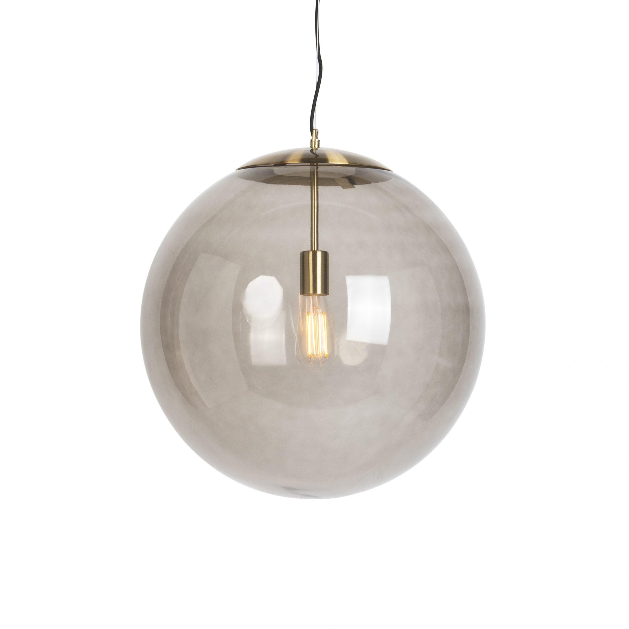 Hanglamp Ball 50 messing met smoke glas | QAZQA | 8718881068010