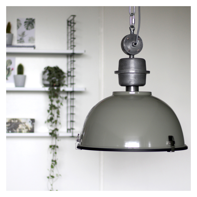 Industriële hanglamp groen-grijs met blank staal – Gospodin | Steinhauer | 8712746102451