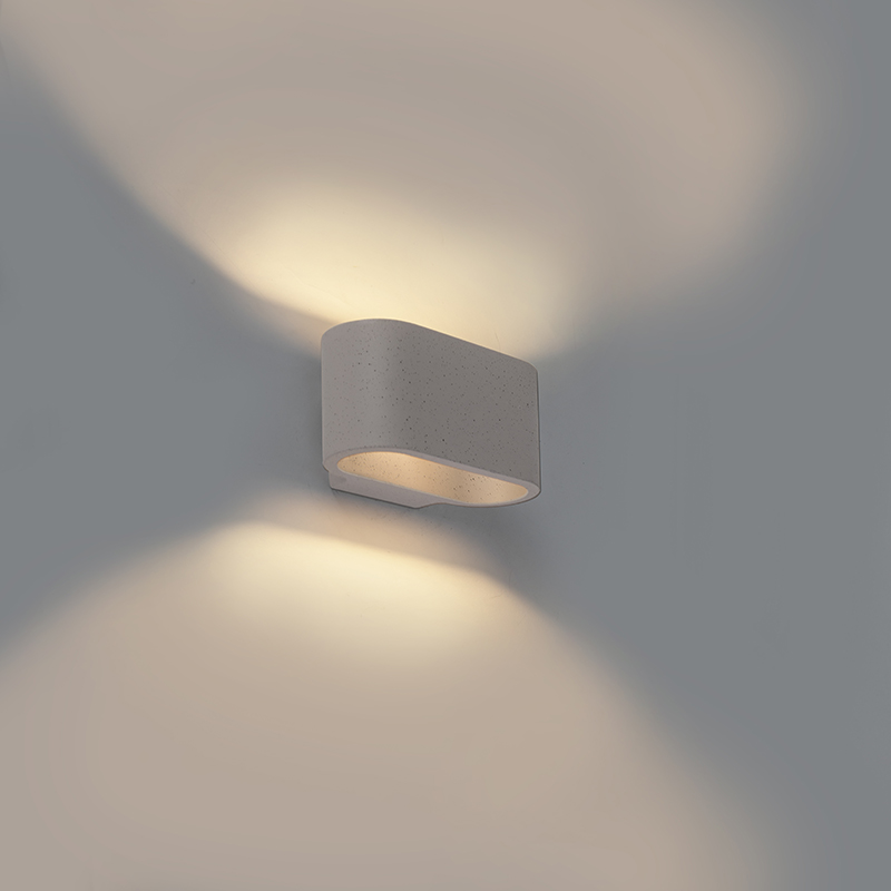 Industriele ovale wandlamp grijs beton – Arles | QAZQA | 8718881081200