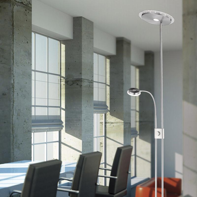 Moderne Uplighter staal met leeslamp LED met dimmer – Adrian | Leuchten Direct | 4043689911621