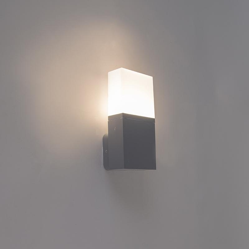 Moderne buitenwandlamp donker grijs incl. LED – Malia | QAZQA | 8718881070709
