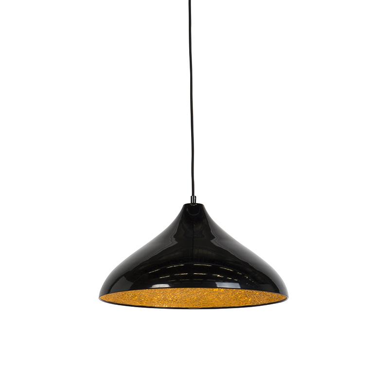 Moderne hanglamp zwart met gouden binnenkant 40cm – Tatu | Trio Leuchten | 4017807285796