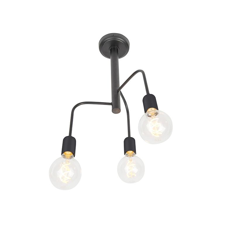 Moderne plafondlamp zwart 3-lichts – Facile | QAZQA | 8718881087387