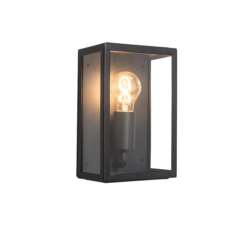 Moderne rechthoekige buitenwandlamp zwart met glas – Rotterdam 2   QAZQA   8718881034800