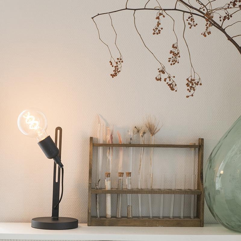 Moderne strakke tafellamp zwart – Slide | QAZQA | 8718881081736