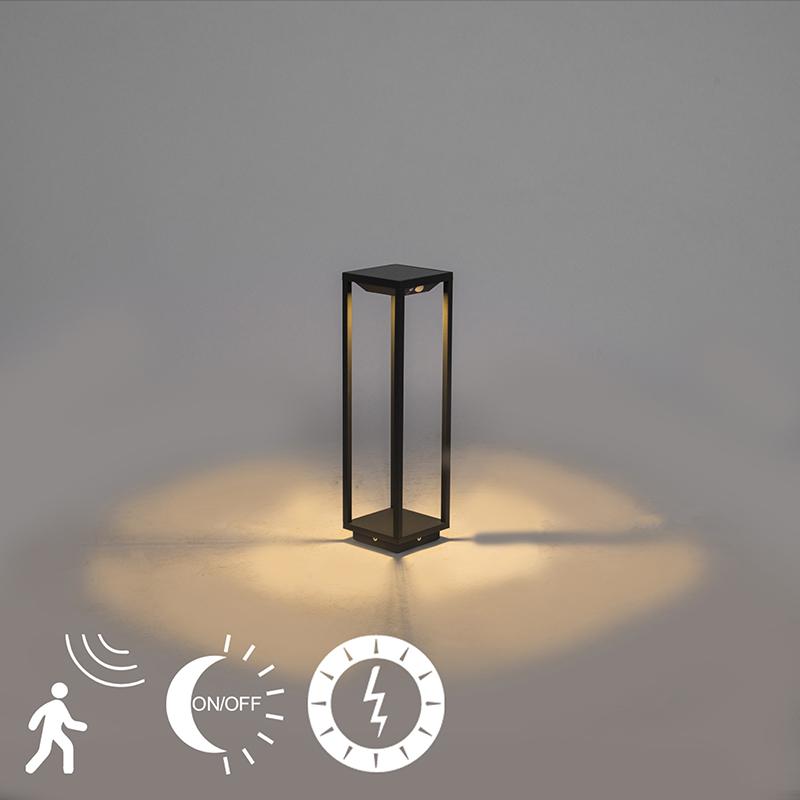 Moderne tuinpaal 50cm donkergrijs solar schemer/beweging – Volendam   QAZQA   8718881078545