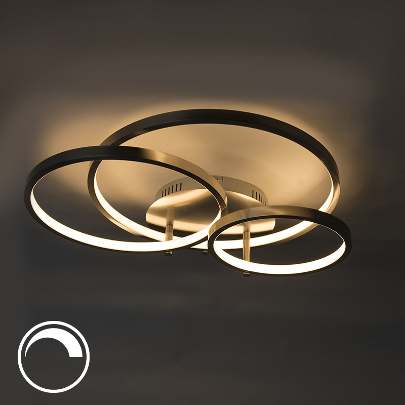 Plafondlamp Rondas LED staal | QAZQA | 8718881058462