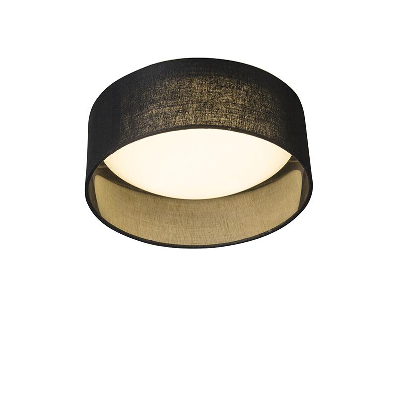 Plafonniere Drum Combi 28 zwart | QAZQA | 8718881058011