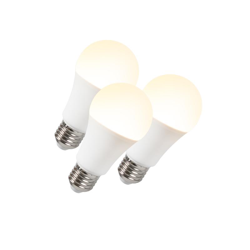 Set van 3 LED lamp B60 12W E27 warmwit | QAZQA | 8718881073069