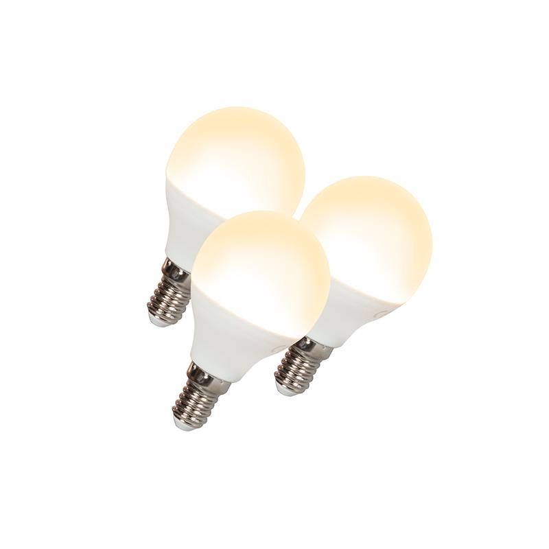 Set van 3 LED lamp G45 E14 5W 3000K | QAZQA | 8718881062063